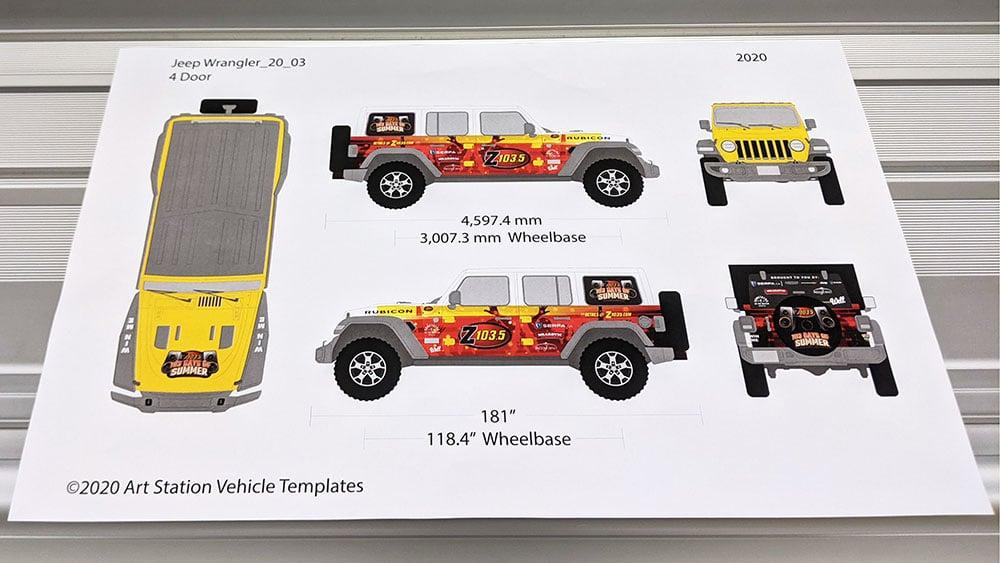 Car wrap mock-up print