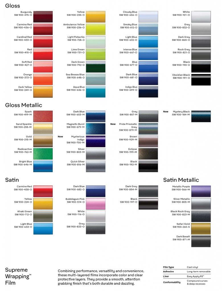 Vinyl Wrap Colour Palette - Branding Centres - Avery and 3M